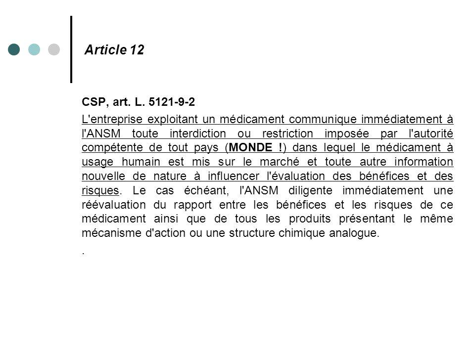 Article 12 CSP, art. L. 5121-9-2 L'entreprise exploitant un médicament communique immédiatement à l'ANSM toute interdiction ou restriction imposée par