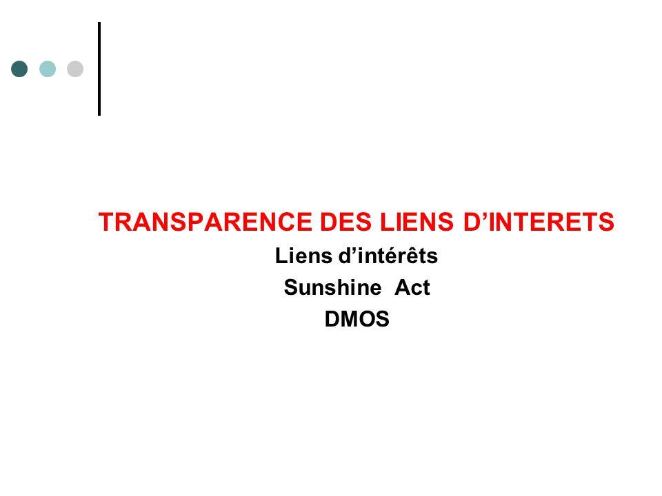 TRANSPARENCE DES LIENS D'INTERETS Liens d'intérêts Sunshine Act DMOS