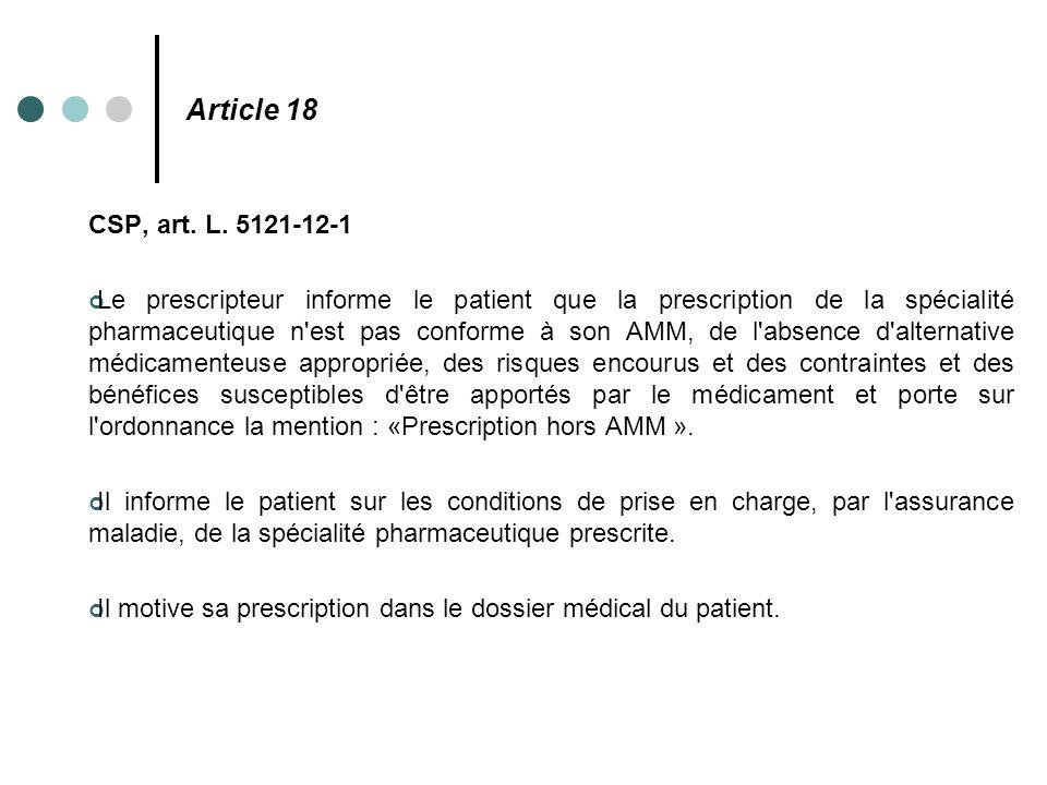 Article 18 CSP, art. L. 5121-12-1 Le prescripteur informe le patient que la prescription de la spécialité pharmaceutique n'est pas conforme à son AMM,