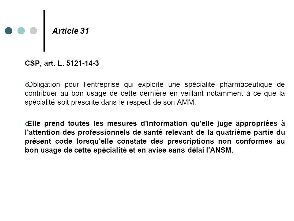 Article 31 CSP, art. L. 5121-14-3 Obligation pour l'entreprise qui exploite une spécialité pharmaceutique de contribuer au bon usage de cette dernière