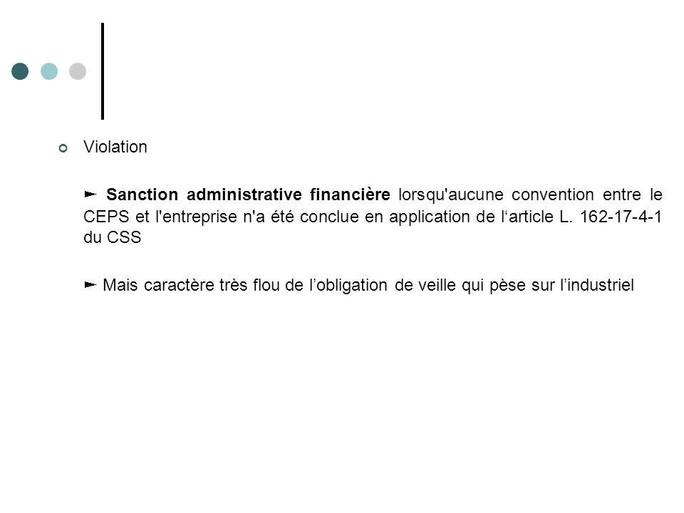 Violation ► Sanction administrative financière lorsqu'aucune convention entre le CEPS et l'entreprise n'a été conclue en application de l'article L. 1