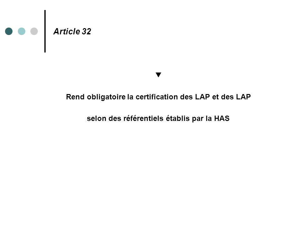 Article 32 ▼ Rend obligatoire la certification des LAP et des LAP selon des référentiels établis par la HAS
