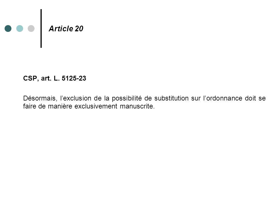 Article 20 CSP, art. L. 5125-23 Désormais, l'exclusion de la possibilité de substitution sur l'ordonnance doit se faire de manière exclusivement manus