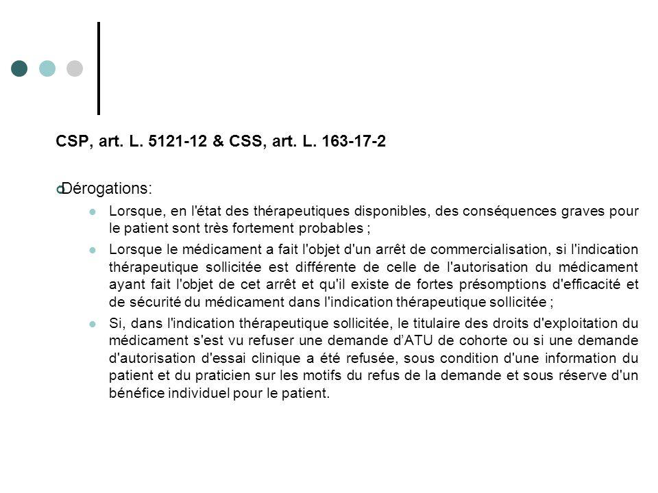 CSP, art. L. 5121-12 & CSS, art. L. 163-17-2 Dérogations: Lorsque, en l'état des thérapeutiques disponibles, des conséquences graves pour le patient s