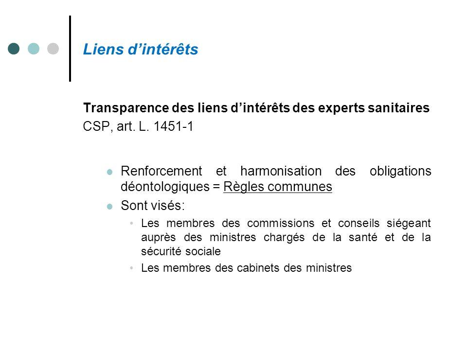 Liens d'intérêts Transparence des liens d'intérêts des experts sanitaires CSP, art. L. 1451-1 Renforcement et harmonisation des obligations déontologi