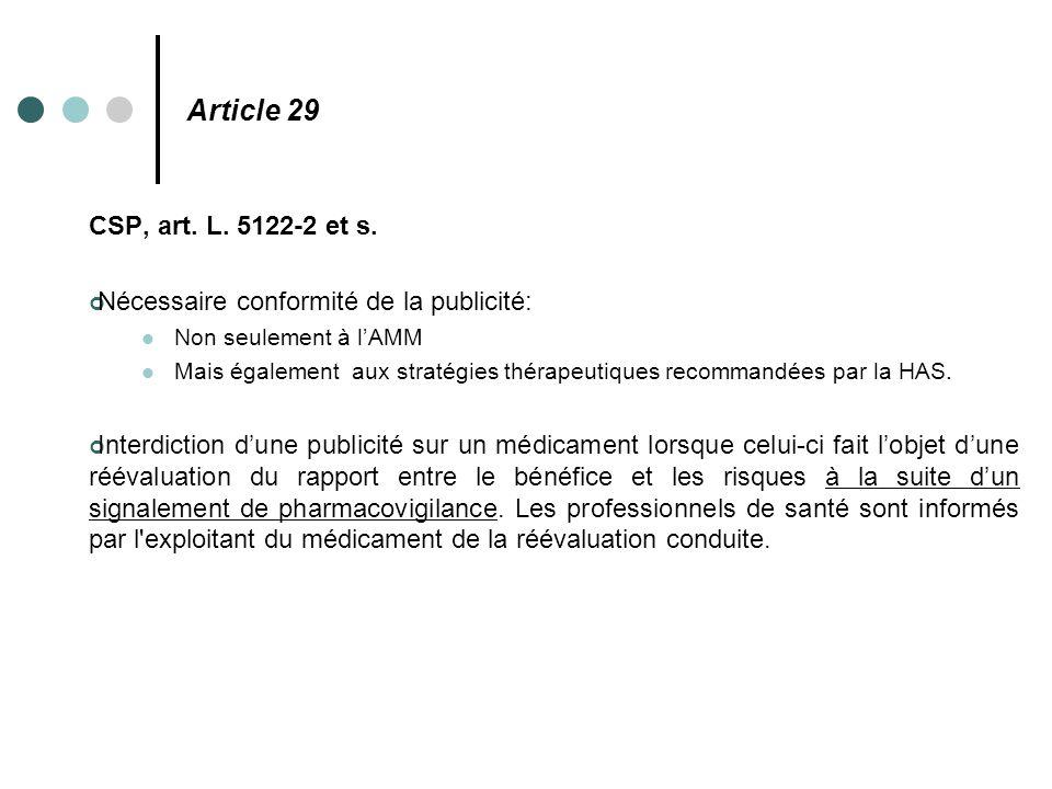 Article 29 CSP, art. L. 5122-2 et s. Nécessaire conformité de la publicité: Non seulement à l'AMM Mais également aux stratégies thérapeutiques recomma