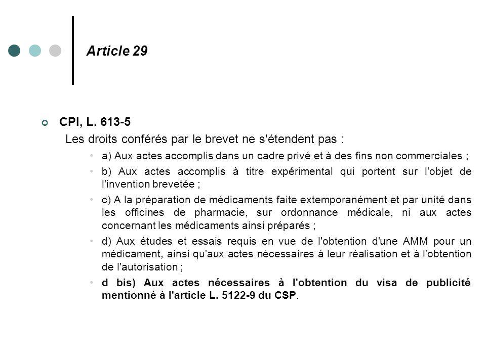 Article 29 CPI, L. 613-5 Les droits conférés par le brevet ne s'étendent pas : a) Aux actes accomplis dans un cadre privé et à des fins non commercial