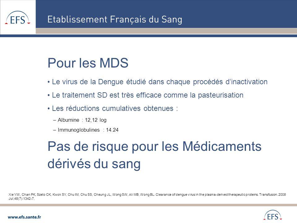 Pour les MDS Le virus de la Dengue étudié dans chaque procédés d'inactivation Le traitement SD est très efficace comme la pasteurisation Les réduction
