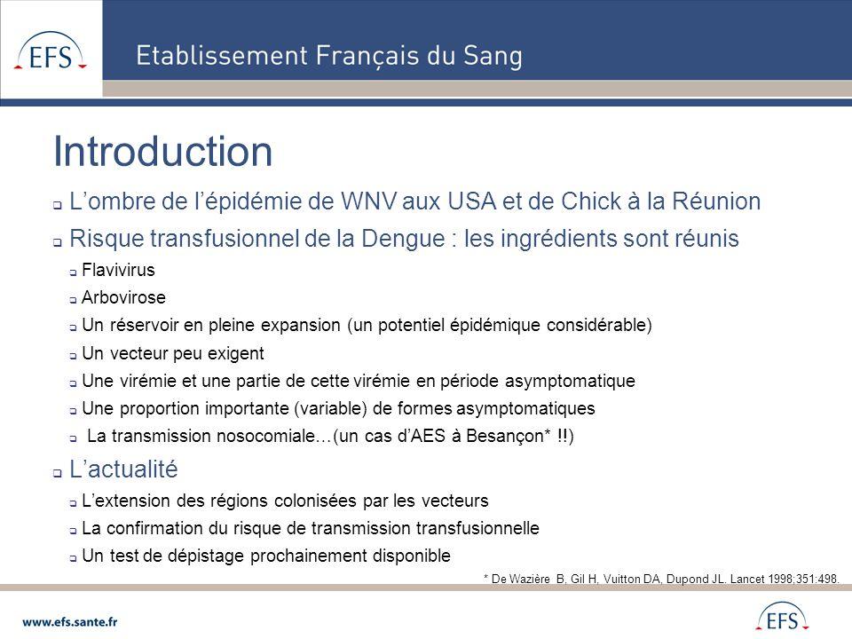 Introduction  L'ombre de l'épidémie de WNV aux USA et de Chick à la Réunion  Risque transfusionnel de la Dengue : les ingrédients sont réunis  Flav