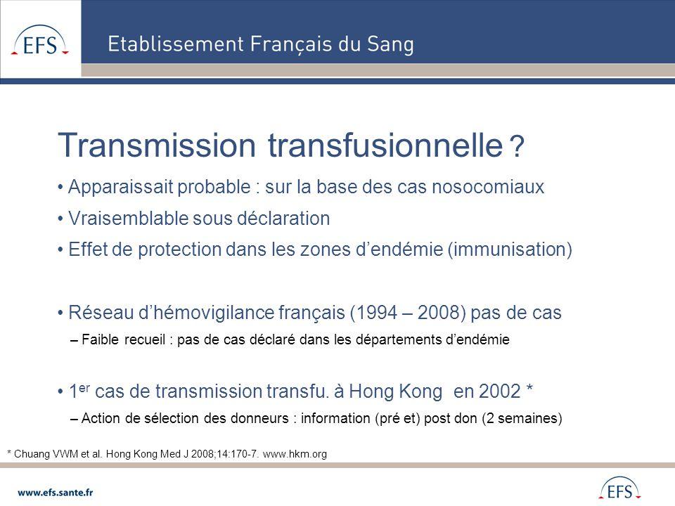 Transmission transfusionnelle Transmission avec les trois PSL du don en 2007* Singapour zone endémique – Information au don suivant * Tambyah PA, Koay ES, Poon ML, Lin RV, Ong BK; Transfusion-Transmitted Dengue Infection Study Group.