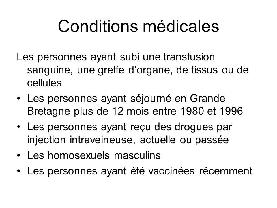 Conditions médicales Les personnes ayant subi une transfusion sanguine, une greffe d'organe, de tissus ou de cellules Les personnes ayant séjourné en