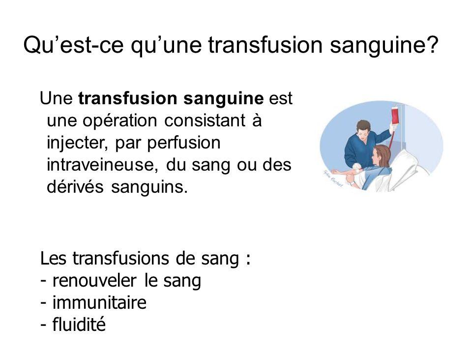 Qu'est-ce qu'une transfusion sanguine? Une transfusion sanguine est une opération consistant à injecter, par perfusion intraveineuse, du sang ou des d