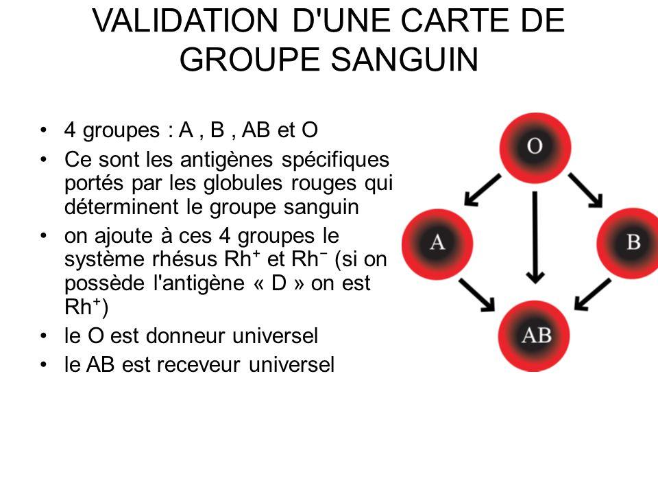 4 groupes : A, B, AB et O Ce sont les antigènes spécifiques portés par les globules rouges qui déterminent le groupe sanguin on ajoute à ces 4 groupes