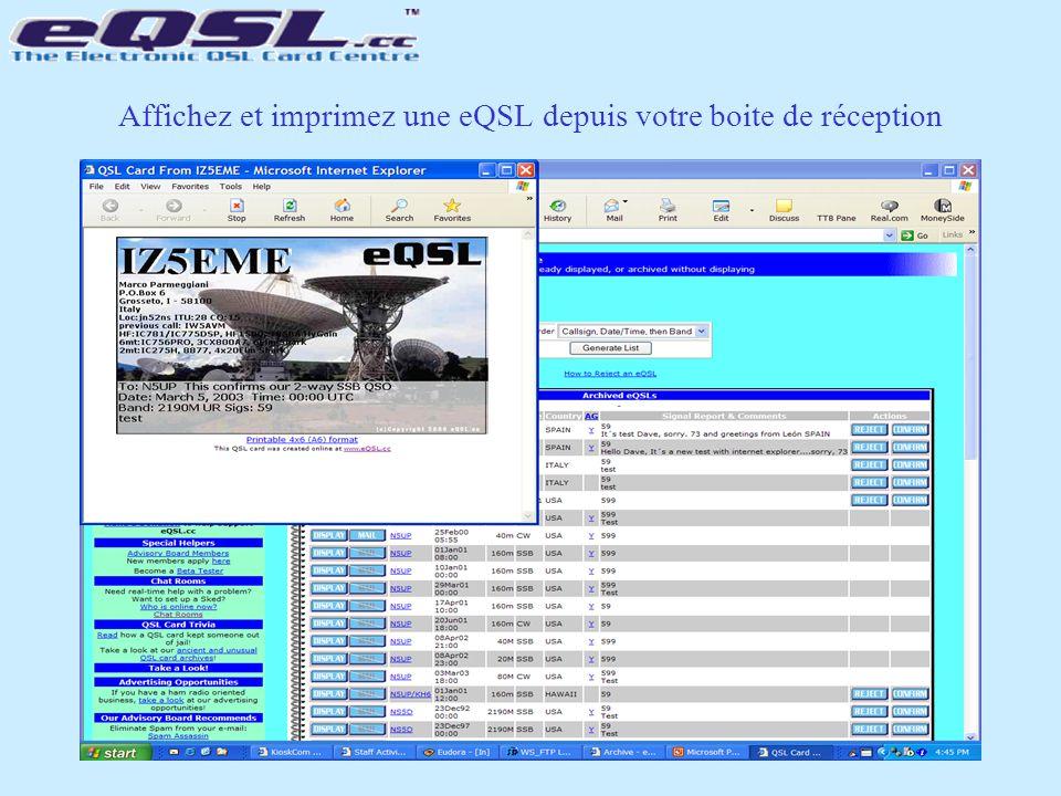 Affichez et imprimez une eQSL depuis votre boite de réception
