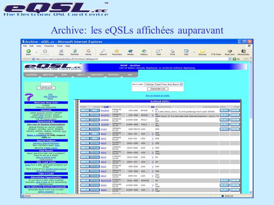 Archive: les eQSLs affichées auparavant