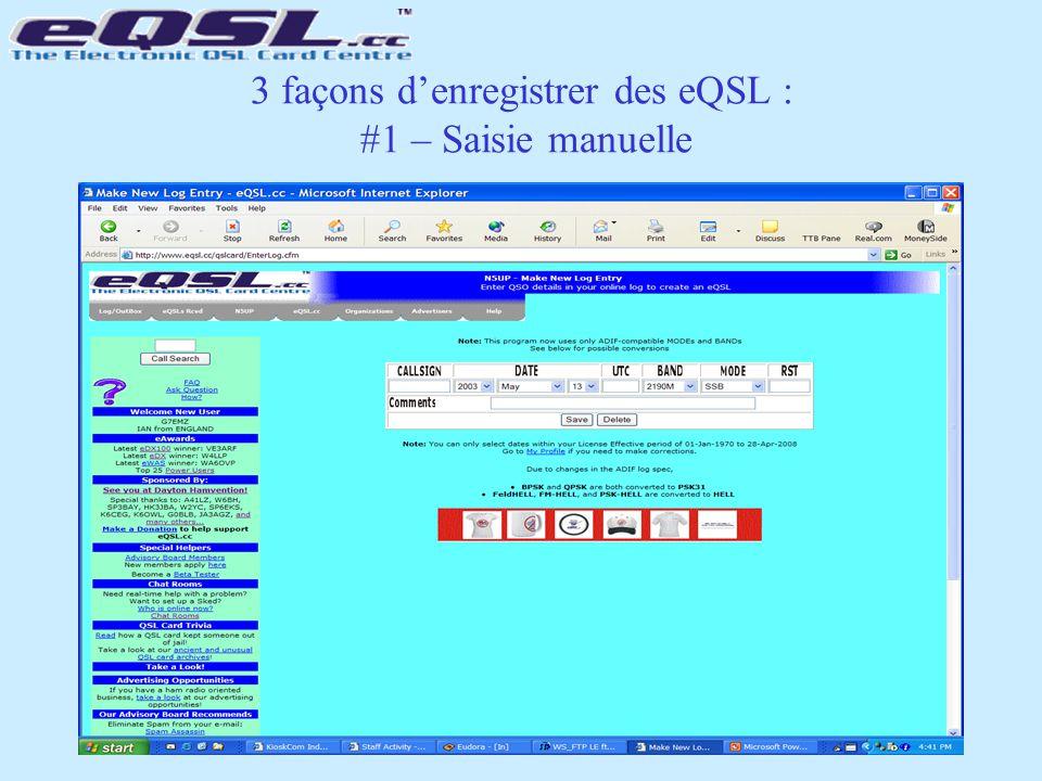 3 façons d'enregistrer des eQSL : #1 – Saisie manuelle
