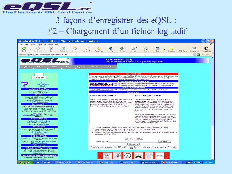 3 façons d'enregistrer des eQSL : #2 – Chargement d'un fichier log.adif