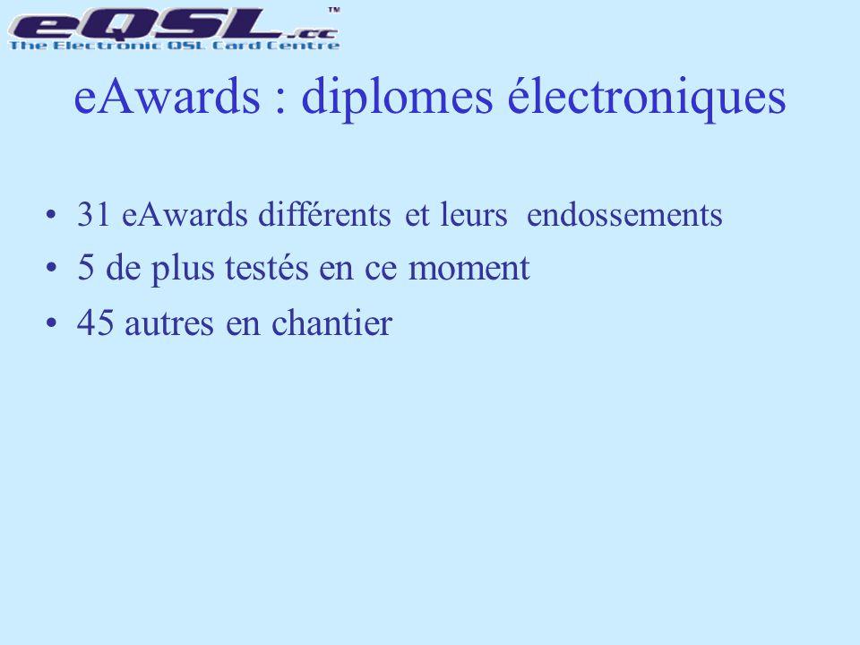 eAwards : diplomes électroniques 31 eAwards différents et leurs endossements 5 de plus testés en ce moment 45 autres en chantier