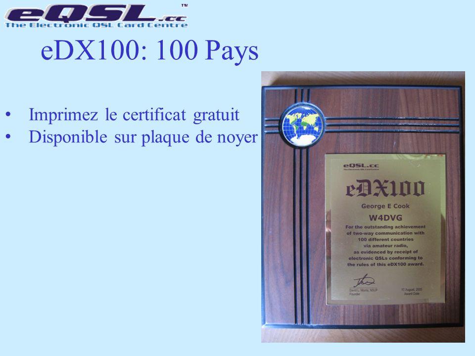 eDX100: 100 Pays Imprimez le certificat gratuit Disponible sur plaque de noyer
