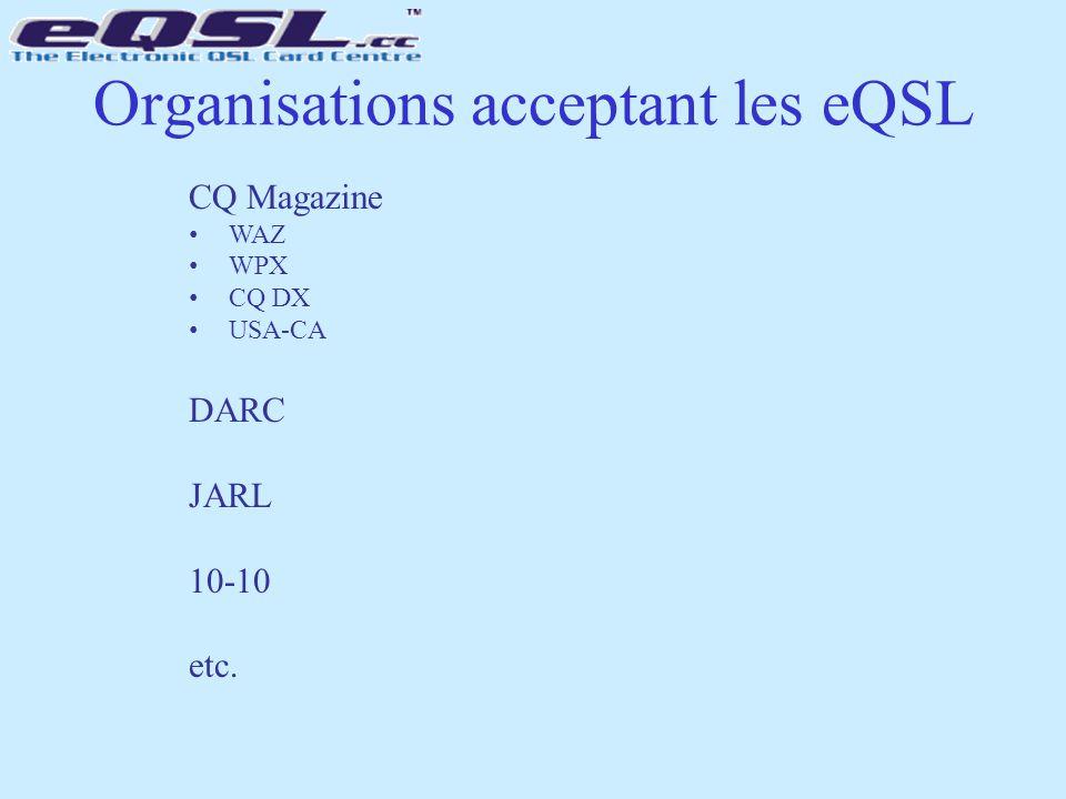 Organisations acceptant les eQSL CQ Magazine WAZ WPX CQ DX USA-CA DARC JARL 10-10 etc.