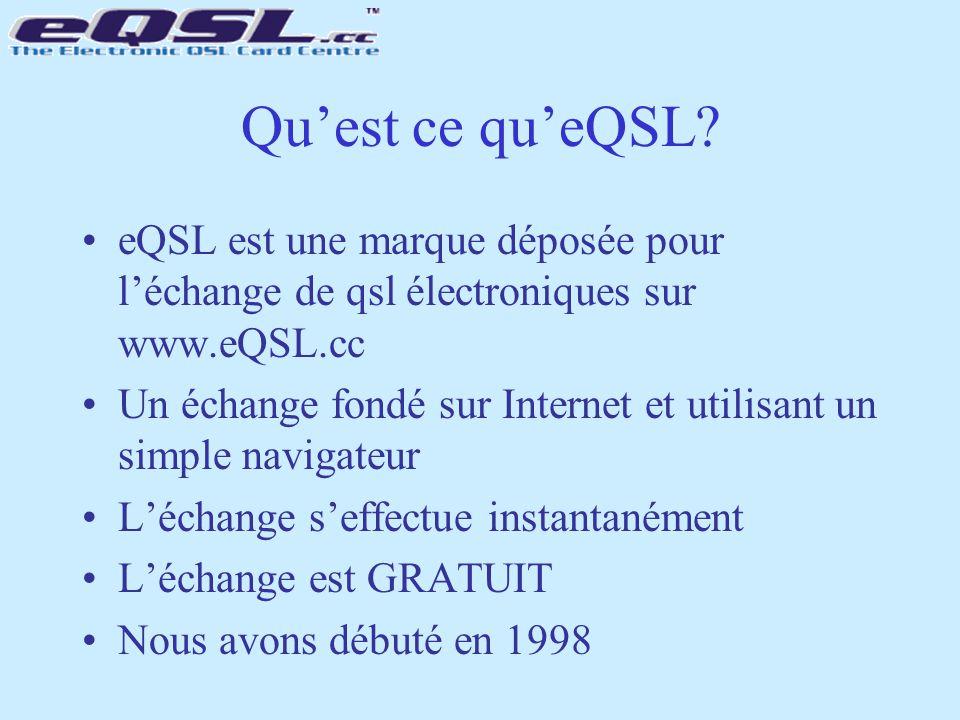 Qu'est ce qu'eQSL? eQSL est une marque déposée pour l'échange de qsl électroniques sur www.eQSL.cc Un échange fondé sur Internet et utilisant un simpl