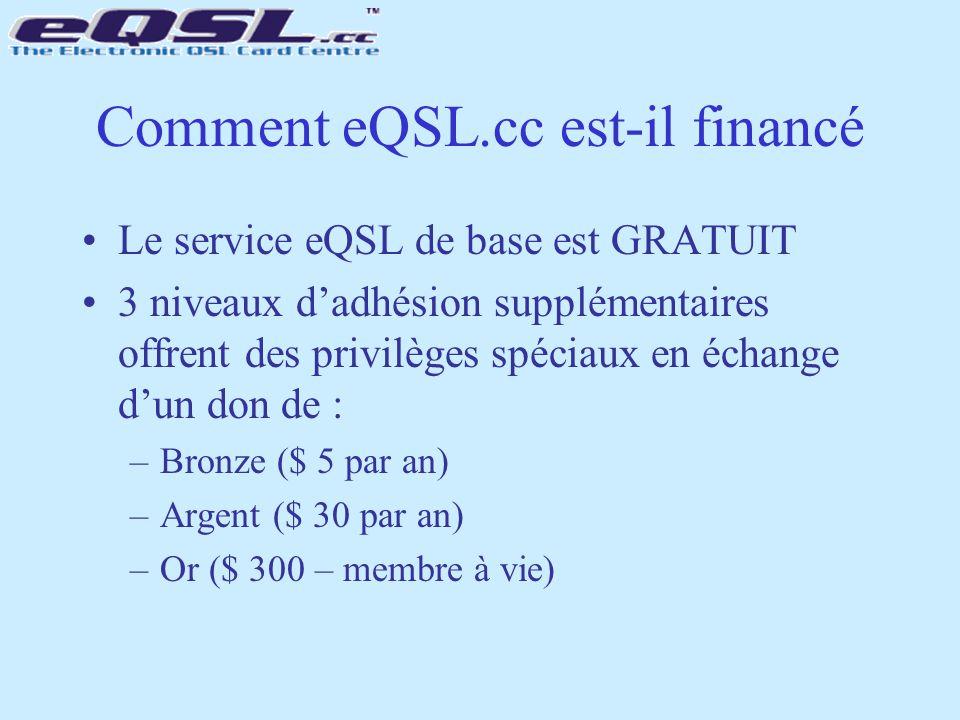 Comment eQSL.cc est-il financé Le service eQSL de base est GRATUIT 3 niveaux d'adhésion supplémentaires offrent des privilèges spéciaux en échange d'u