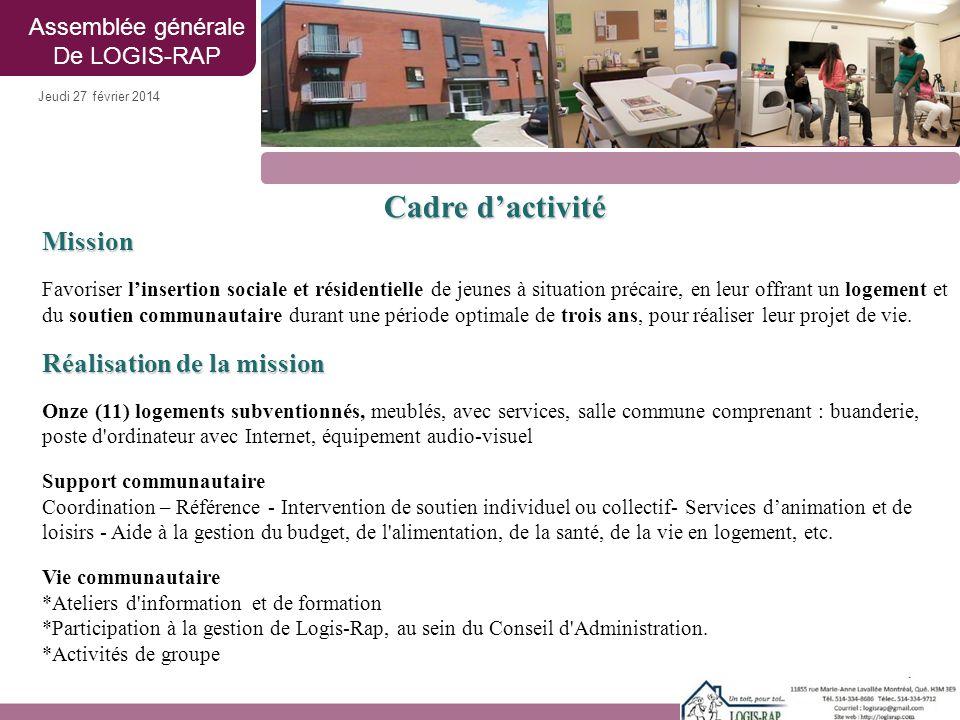 Cadre d'activité Mission Favoriser l'insertion sociale et résidentielle de jeunes à situation précaire, en leur offrant un logement et du soutien comm