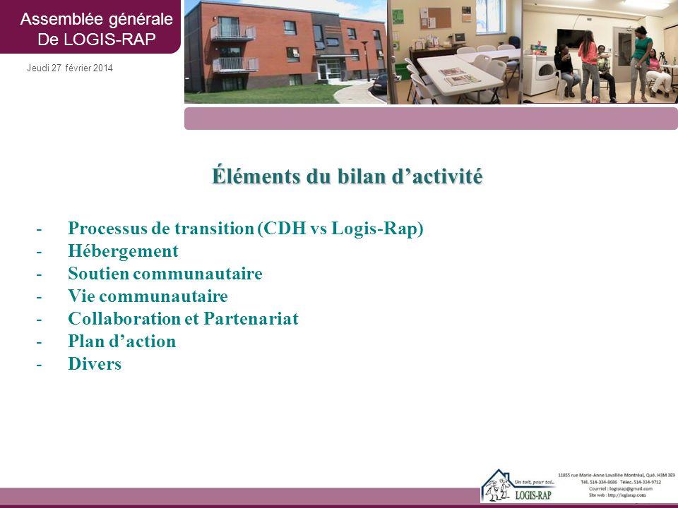 Jeudi 27 février 2014 Éléments du bilan d'activité -Processus de transition (CDH vs Logis-Rap) -Hébergement -Soutien communautaire -Vie communautaire
