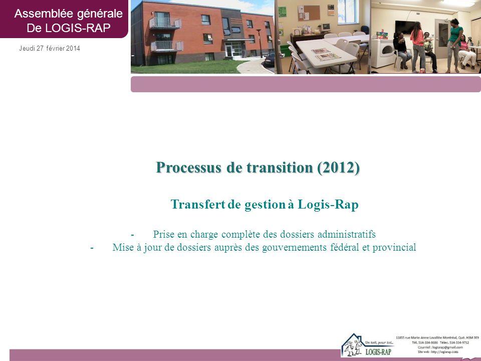 Jeudi 27 février 2014 Processus de transition (2012) Transfert de gestion à Logis-Rap -Prise en charge complète des dossiers administratifs -Mise à jo