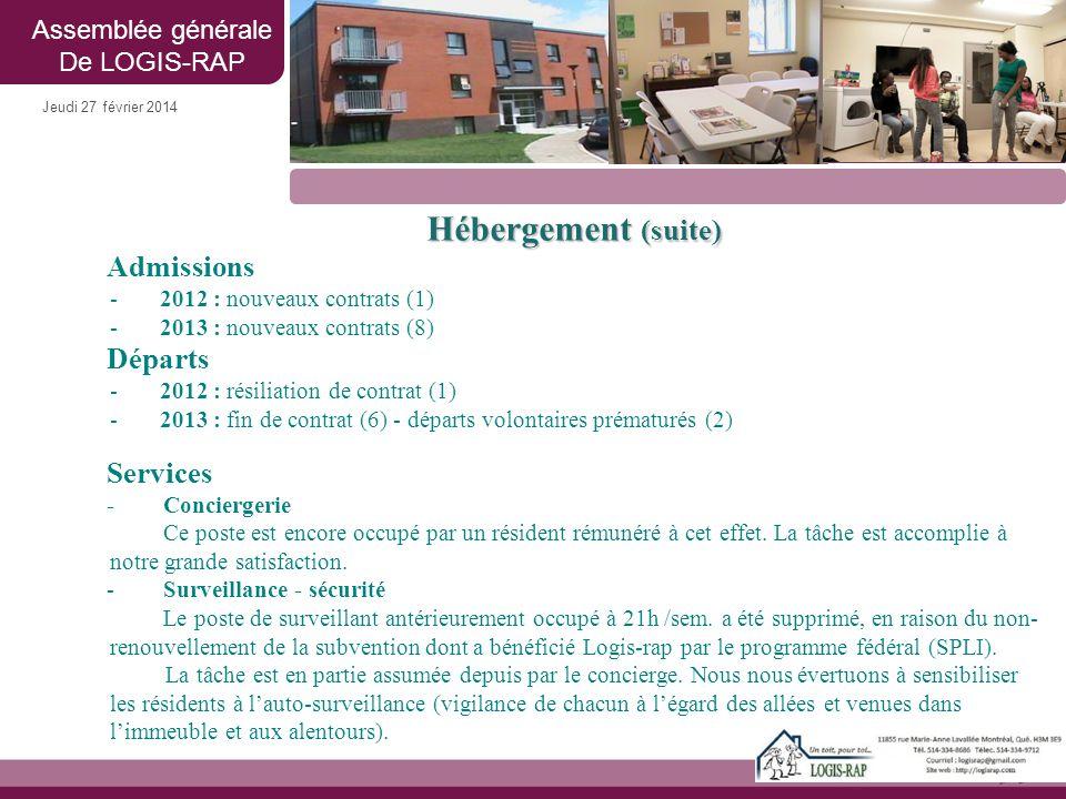 Jeudi 27 février 2014 Hébergement (suite) Admissions -2012 : nouveaux contrats (1) -2013 : nouveaux contrats (8) Départs -2012 : résiliation de contra