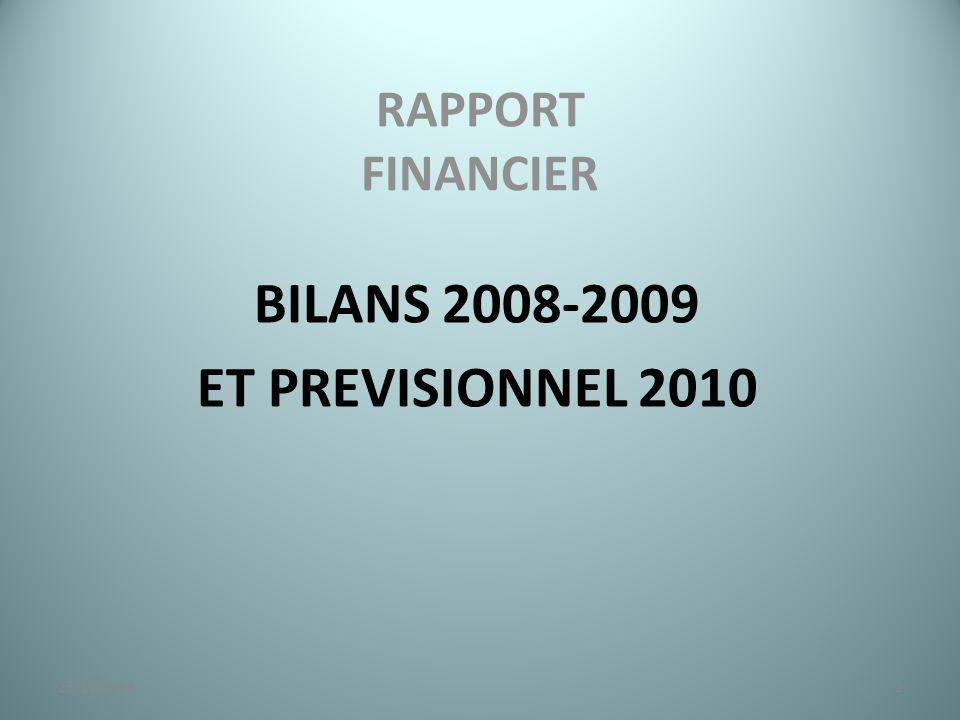 RAPPORT FINANCIER BILANS 2008-2009 ET PREVISIONNEL 2010 223/11/2014