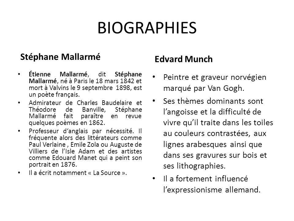 BIOGRAPHIES Stéphane Mallarmé Étienne Mallarmé, dit Stéphane Mallarmé, né à Paris le 18 mars 1842 et mort à Valvins le 9 septembre 1898, est un poète