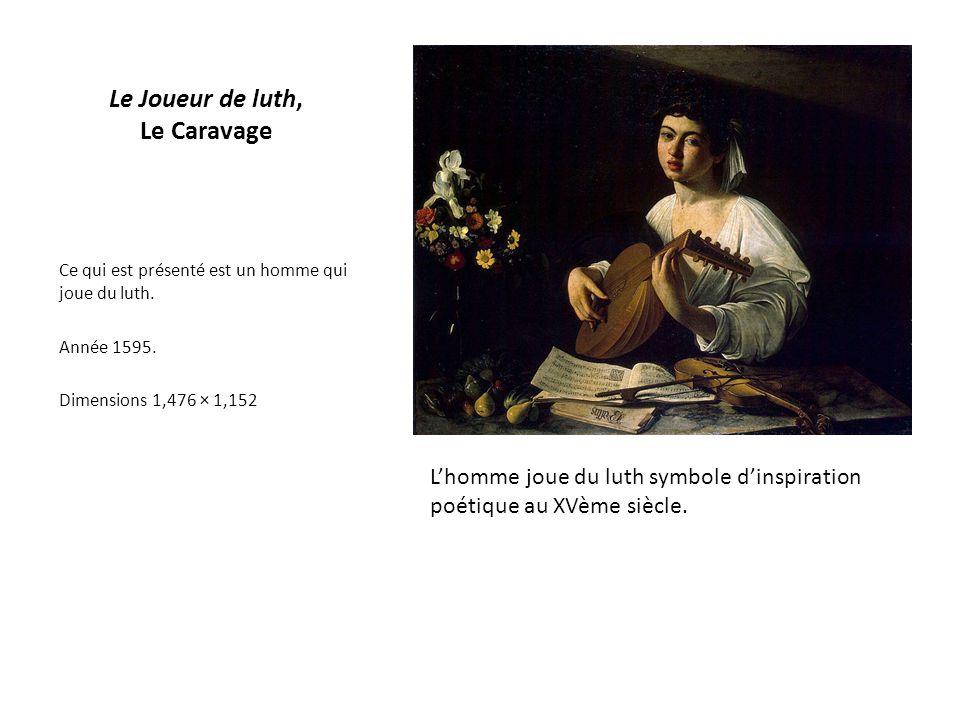 Ce qui est présenté est un homme qui joue du luth. Année 1595. Dimensions 1,476 × 1,152 Le Joueur de luth, Le Caravage L'homme joue du luth symbole d'