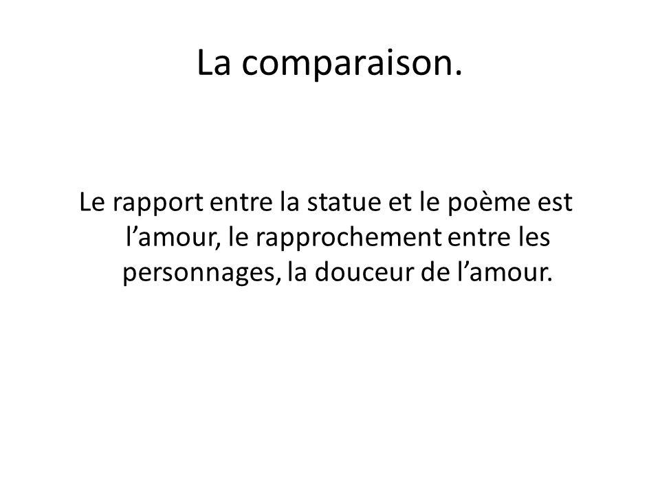 La comparaison. Le rapport entre la statue et le poème est l'amour, le rapprochement entre les personnages, la douceur de l'amour.