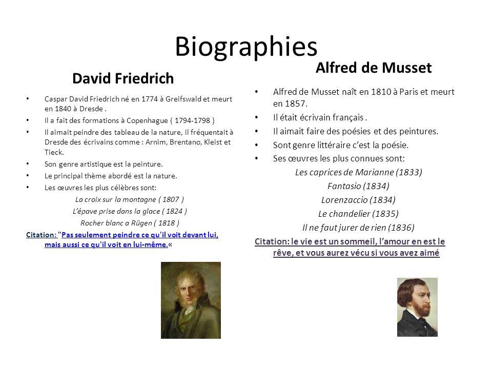 Biographies David Friedrich Alfred de Musset Caspar David Friedrich né en 1774 à Greifswald et meurt en 1840 à Dresde. Il a fait des formations à Cope