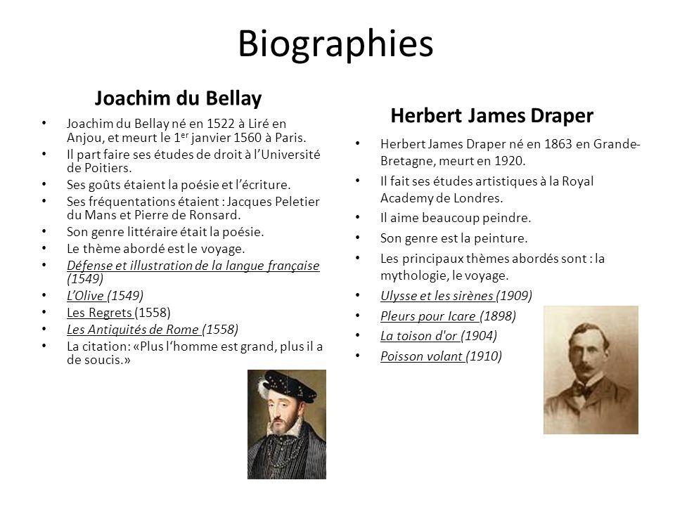 Biographies Joachim du Bellay Herbert James Draper Joachim du Bellay né en 1522 à Liré en Anjou, et meurt le 1 er janvier 1560 à Paris. Il part faire