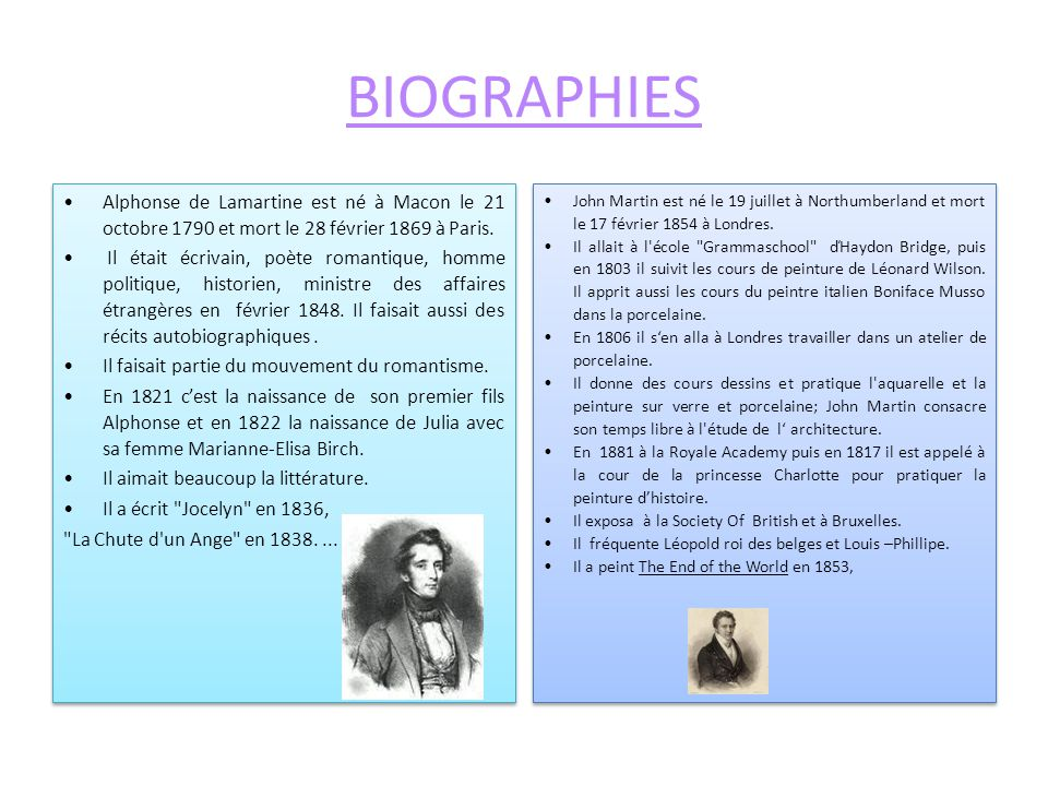 BIOGRAPHIES Alphonse de Lamartine est né à Macon le 21 octobre 1790 et mort le 28 février 1869 à Paris. Il était écrivain, poète romantique, homme pol