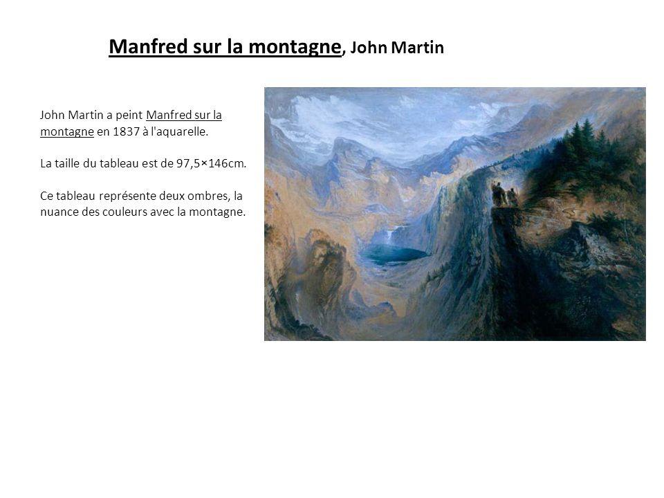 Manfred sur la montagne, John Martin John Martin a peint Manfred sur la montagne en 1837 à l'aquarelle. La taille du tableau est de 97,5×146cm. Ce tab