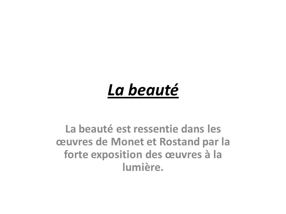 La beauté La beauté est ressentie dans les œuvres de Monet et Rostand par la forte exposition des œuvres à la lumière.