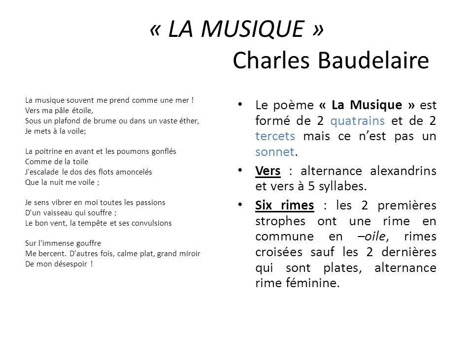 « LA MUSIQUE » Charles Baudelaire La musique souvent me prend comme une mer ! Vers ma pâle étoile, Sous un plafond de brume ou dans un vaste éther, Je
