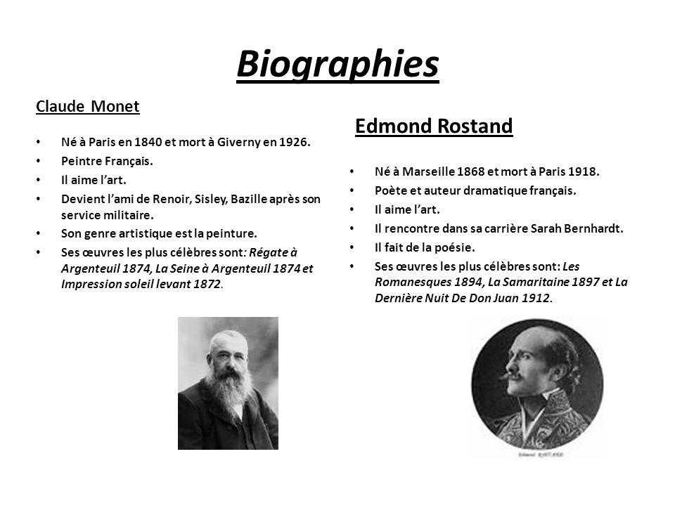 Biographies Claude Monet Edmond Rostand Né à Paris en 1840 et mort à Giverny en 1926. Peintre Français. Il aime l'art. Devient l'ami de Renoir, Sisley