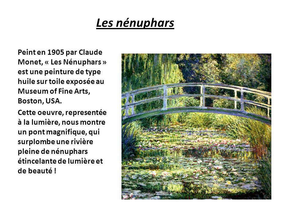 Les nénuphars Peint en 1905 par Claude Monet, « Les Nénuphars » est une peinture de type huile sur toile exposée au Museum of Fine Arts, Boston, USA.