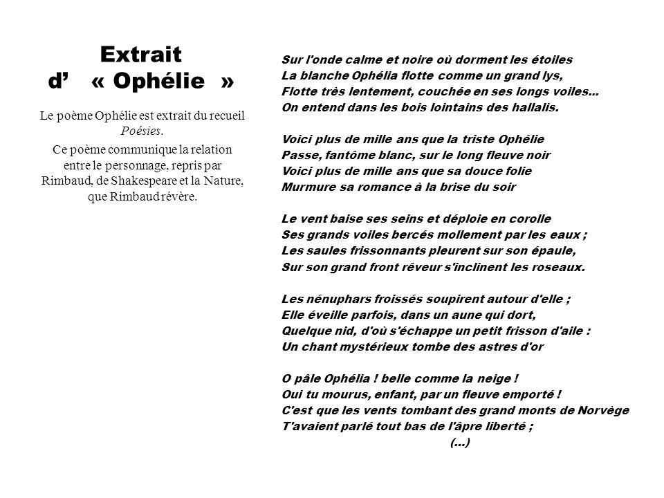 Extrait d' « Ophélie » Le poème Ophélie est extrait du recueil Poésies. Ce poème communique la relation entre le personnage, repris par Rimbaud, de Sh