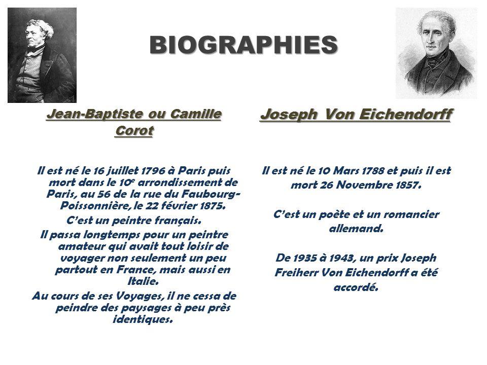 BIOGRAPHIES Jean-Baptiste ou Camille Corot Joseph Von Eichendorff Il est né le 16 juillet 1796 à Paris puis mort dans le 10 e arrondissement de Paris,