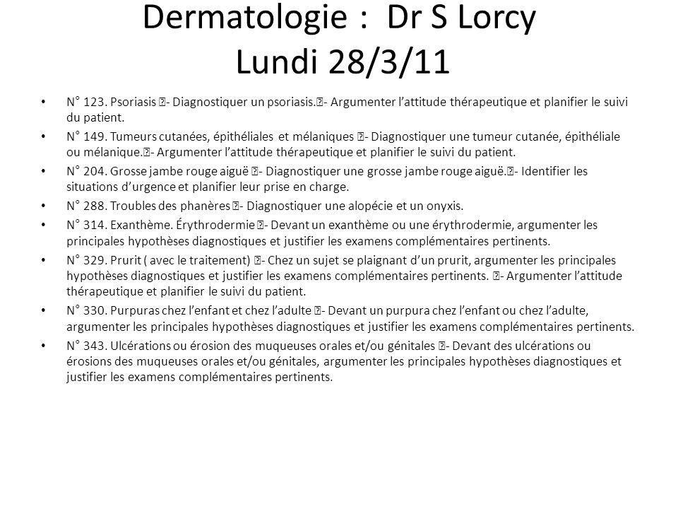 Dermatologie : Dr S Lorcy Lundi 28/3/11 N° 123. Psoriasis - Diagnostiquer un psoriasis.