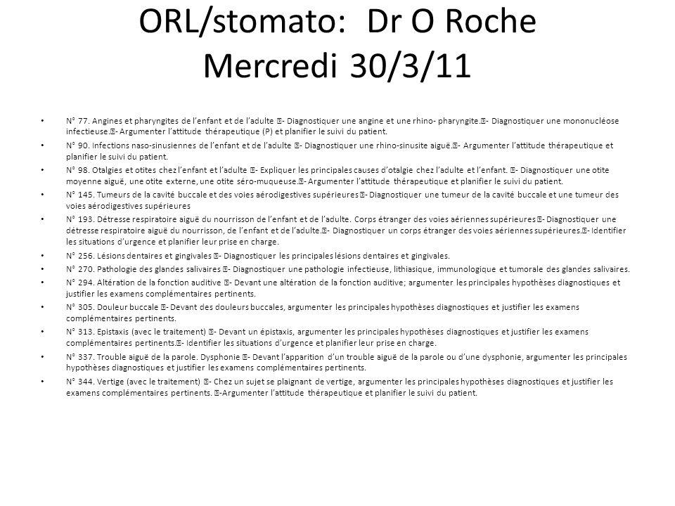 ORL/stomato: Dr O Roche Mercredi 30/3/11 N° 77.