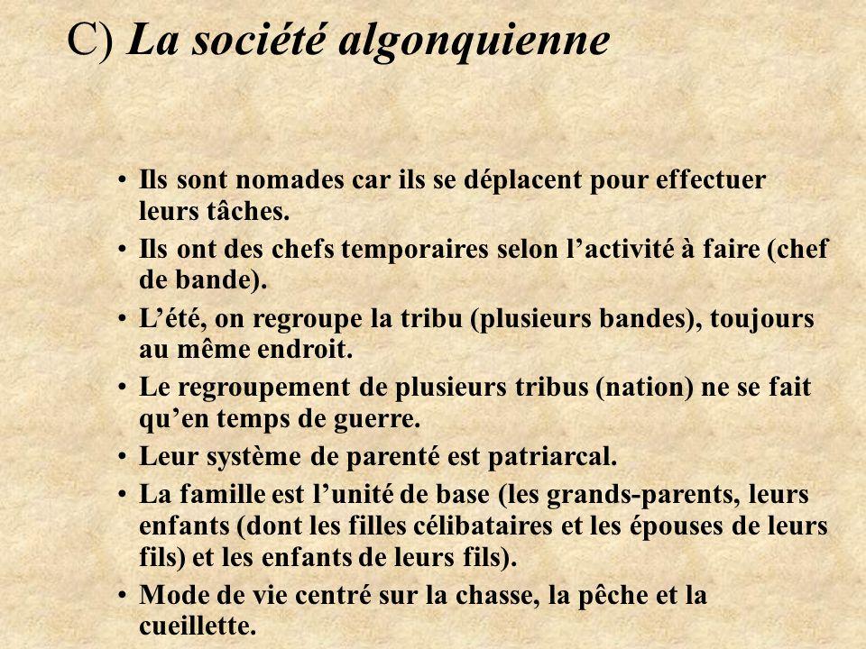 C) La société algonquienne Ils sont nomades car ils se déplacent pour effectuer leurs tâches.