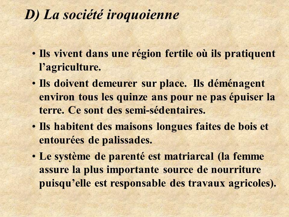 D) La société iroquoienne Ils vivent dans une région fertile où ils pratiquent l'agriculture.