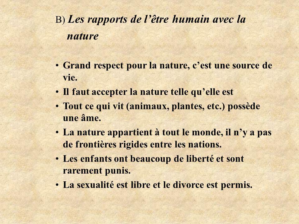B) Les rapports de l'être humain avec la nature Grand respect pour la nature, c'est une source de vie.