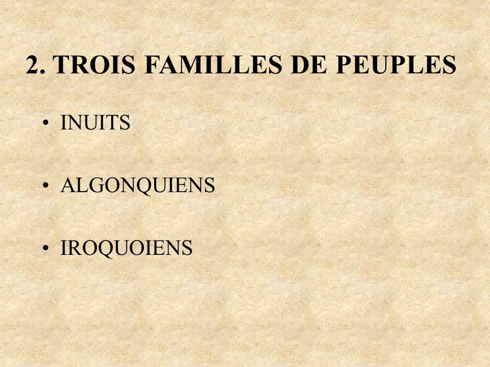 2. TROIS FAMILLES DE PEUPLES INUITS ALGONQUIENS IROQUOIENS
